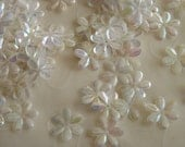New Item -- 7g of 15 mm 6 Petals Flower Sequins in Iris Clear Color