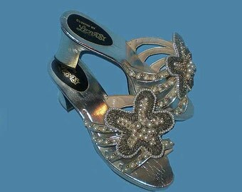 Vintage 60s 70s Silver Beaded High Heel Sandals Shoes 8