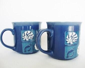 vintage blue mugs beach style stoneware coffee cups with seashells
