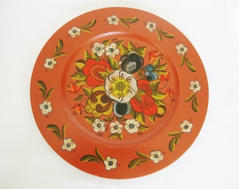 vintage red rosemaling wood plate tole folk art 1975