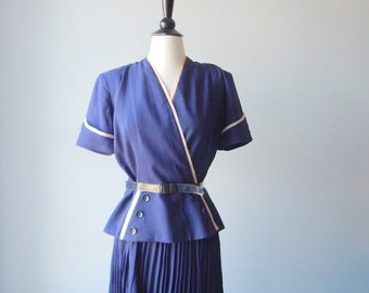 Sale Vintage 1950s Suit - Blue with white trim 50s Suit with Smart Pleated Skirt