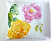 Chinoiserie Floral, Pillow, One of a Kind, Pink Piping, Zinnia and Butterfly, Garden, Watercolor Pillow, Pastel Colors, Indoor Outdoor Decor