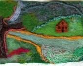 Hand Felted OAK ATC/ACEO wool, silk   Cabin on the creek