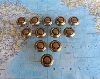 SALE! 12 chunky vintage round brass metal knobs