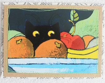 Cat Card / Blank Greeting Card by PrairiePeasant