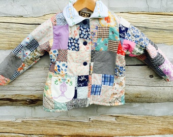 Little Girl Vintage Quilt Jacket, Quilt Coat, Vintage Quilt, Upcycled, Antique Linens, Kids Jacket OOAK  Size 4, Cyndy Love, Quilted Coat