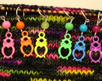 Neon Owl Stitch Markers