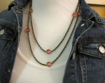 Pink Crystal Chain Necklace, Layering Necklace, Vintage Pink Crystals, Handmade Chain, Long Necklace, Rose Pink, Gifts For Her
