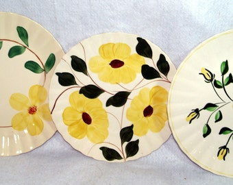 Vintage Blue Ridge Pottery Yellow Flower Plates - set of 3
