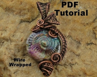Wire Wrapping Tutorial, Wire Wrapped Ammonite Pendant, Wire Tutorial, Pendant, PDF File, Ammonite,T126 by CC Design