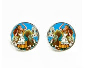 Alice in Wonderland Cards small post stud earrings Stainless steel hypoallergenic 12mm Gifts for her