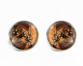 Coffee Tree small post stud earrings Stainless steel hypoallergenic 12mm Gifts for her