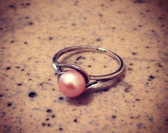 Pearl Ring - Sterling Silver Pink Freshwater Mermaid Bridal Engagement Wedding Band - Jennifer Cervelli Jewelry