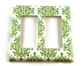 Double Rocker Light Switch Plate  Wall Decor  Switchplate in  Green  Damask (204DR)