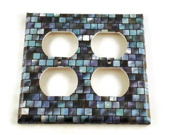 Double Blue  Outlet Light Switch Cover Wall Decor Switchplate Cover  Light  Switch Plate in Tranquil Tiles (203DO)