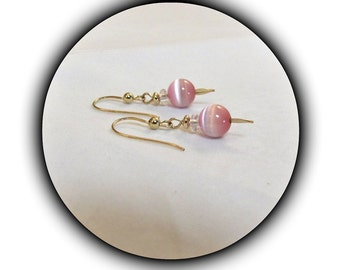 Pink Fiber Optic Earrings,  Dangle Earrings, Pink Earrings, 14kgf French Style Ear wires, Jewelry Accessories, Ready to ship, #1072