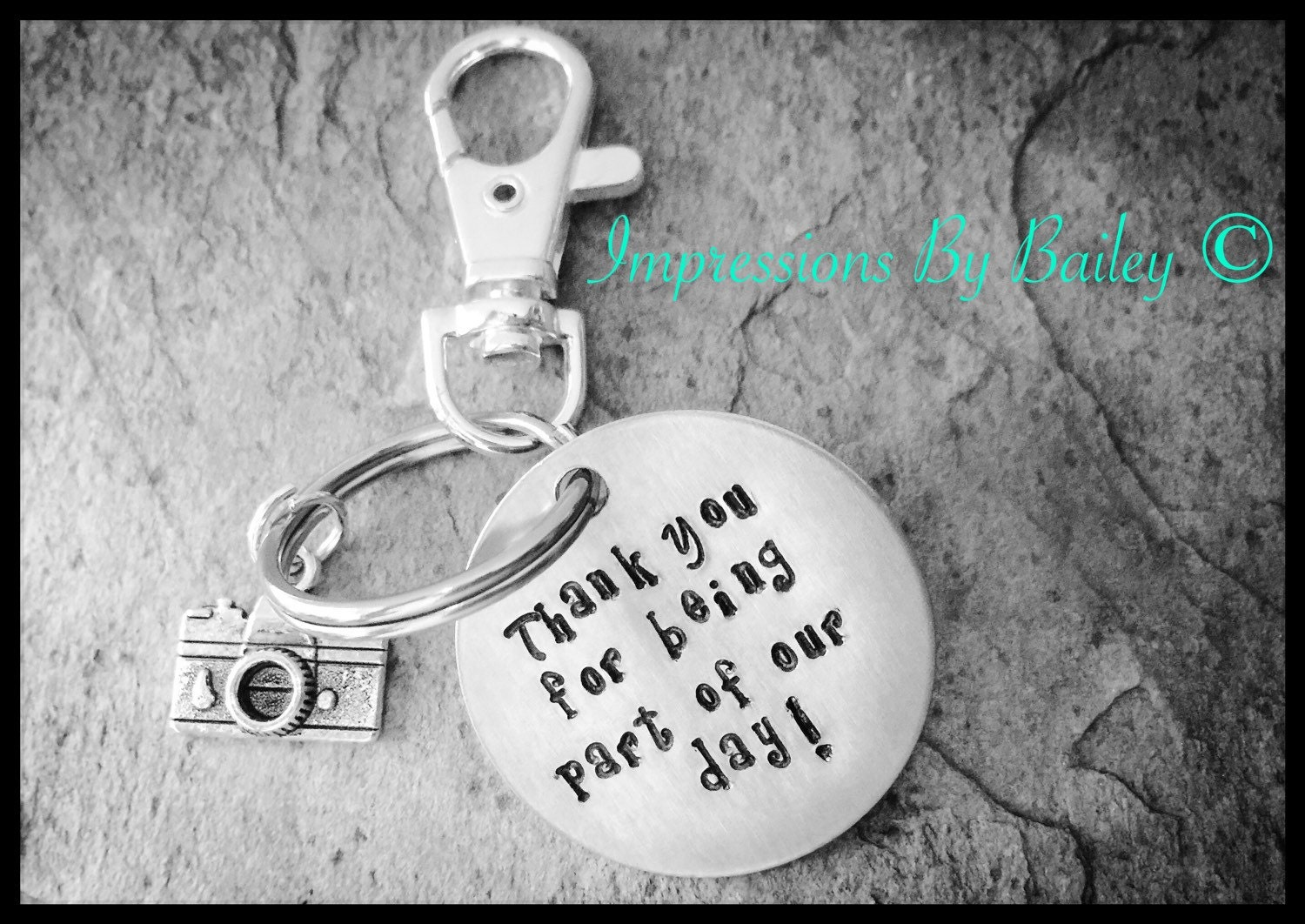 Thank You For A Wedding Gift: Stamped Keychain For Wedding Party Photographer Thank You