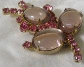 Vintage Pink Glass & Rhinestone Flower Costume Jewelry Brooch