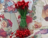 Christmas Red Holly Berries Stamens Tiny 1/4 inch 72 Pieces 144 Berries