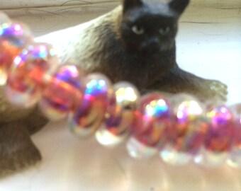 5 Heavenly Donut Handmade Lampwork Beads - Luster Series Light My Fire 10mm (22413)