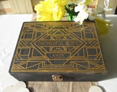 Wedding Guest Book Alternative Engraved Art Deco Gatsby Style Roaring Twenties Wood Box Personalized Set for 100 guests - Item 1654