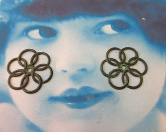 Verdigris Patina Brass 22mm Circles Stampings 771VER x2