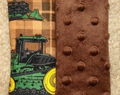 Baby Car Seat Strap Covers, Reversible Car Seat Strap Covers Brown John Deere Fabric