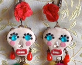 Lilygrace Calavera Floral White Skull Earrings with Vintage Rhinestone Eyes and Red Roses