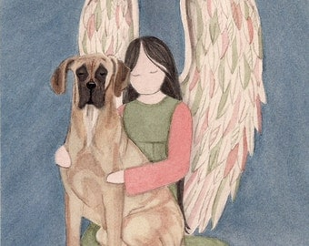Brown great dane (uncropped ears) with angel / Lynch signed folk art print
