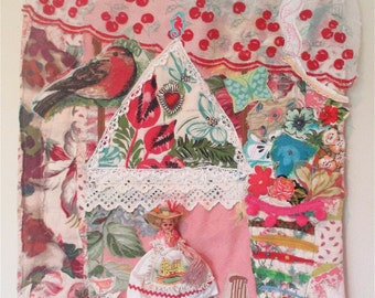 FRENCH COUNTRY COTTAGE Fabric Collage Art - Vintage Doll  -  Antique Fiber Assemblage - Patchwork Applique // mybonny random scraps