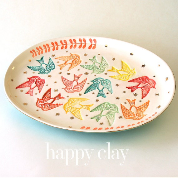 "13x17 Large Serving Platter ""Put a Bird on It"""
