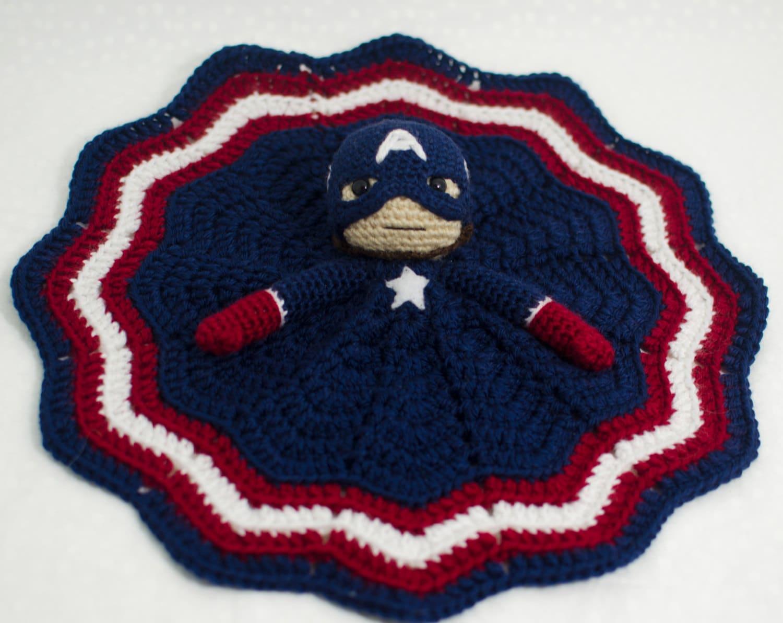 Crochet Captain America Lovey Security Blanket Custom Lovey