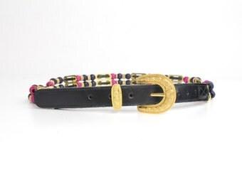 Vintage Beaded Belt | Boho Maximalist Leather Belt | M