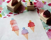 Ice cream rubber stamp set - Hand carved