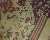 Lot of 6 Coordinated Cotton Striped Floral Purple Plum Designer Fabric Samples Maxwell