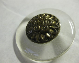 Vintage Cast Brass Metal Floral Clear Plastic Encased Button metal shanked