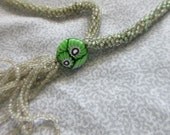 Antique Seed Bead Necklace - Tiny Little Green Beads with Tassle and Millefiore Glass