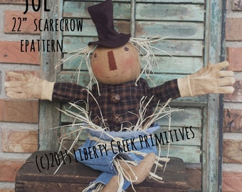 "Primitive Scarecrow ""Joe"" Doll Thanksgiving Fall Epattern"