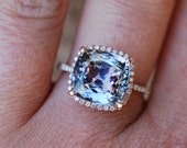 Tanzanite Ring. Rose gold Engagement Ring Lavender Mint Tanzanite 4.4ct Cushion engagement ring.
