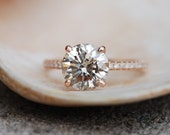 Engagement ring diamond ring 2.25ct VS2 Champagne diamond ring with natural diamond. Engagement ring by Eidelprecious