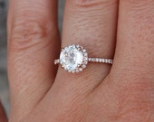 Rose gold engagement ring Champagne sapphire diamond ring 14k rose gold round sapphire