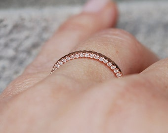 Rose Gold Wedding Band Full Double Eternity Diamond 14K Rose Gold Ring by EidelPrecious