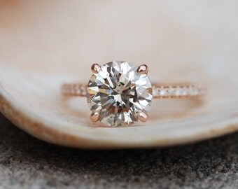 Champagne Diamond Engagement Ring 2.25ct VS2 Champagne diamond ring with natural diamond. Engagement ring by Eidelprecious