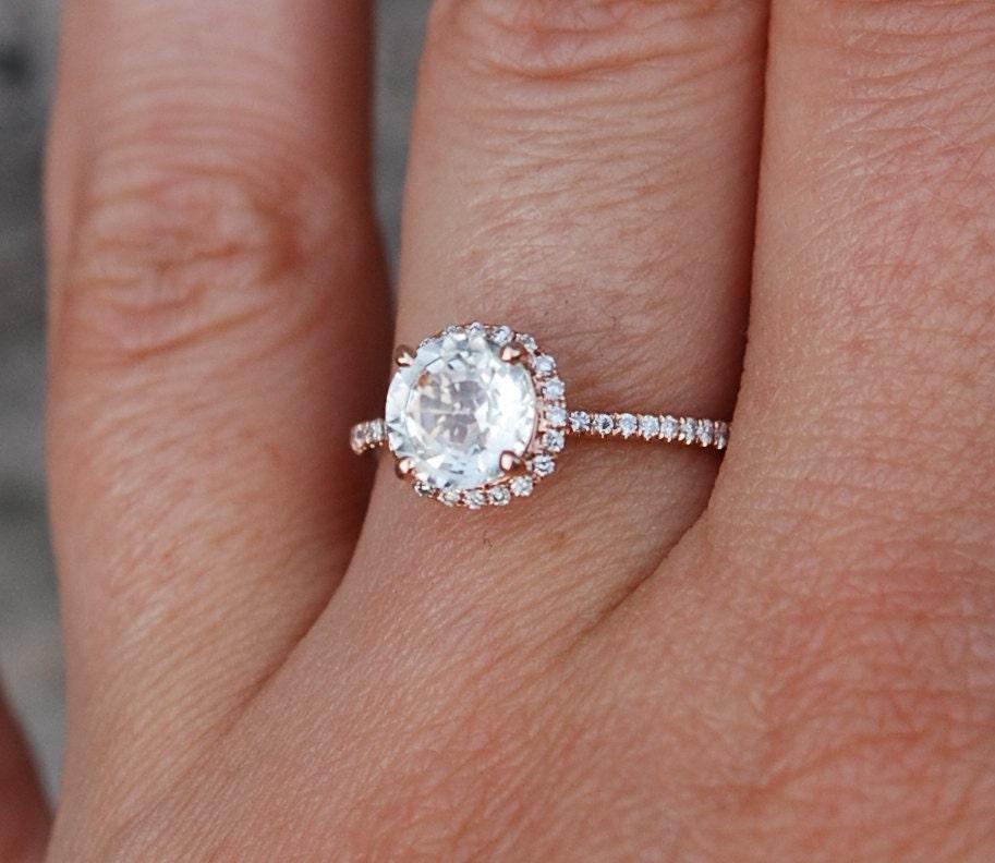 Rose Gold Engagement Ring Champagne Sapphire Diamond Ring 14k