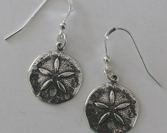 Sterling Silver SAND DOLLAR Earrings - Beach, Seashore, Vacation, Shells