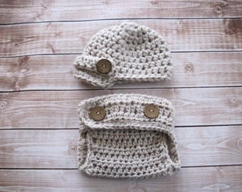 Baby Hat, Newborn Hat, Infant Hat, Baby Newsboy Hat, Baby Diaper Cover Set, Baby Boy Hat, Newborn Girl Hat, Baby Beanie, Baby Photo Prop