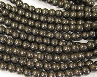 Magnetic Man Made Gunmetal Hemalyke 4mm Gemstone Round Beads 16 inch strand