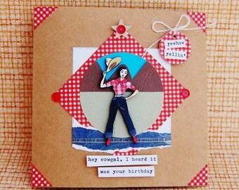 Yee Haw Yellin' Handmade Cowgal Birthday Card - Wood Laser Cut Image