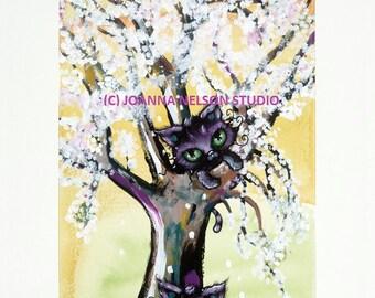 METALLIC PRINT Joanna Nelson Black Cat Magic spring tree gift Fantasy art flower Fairy Acrylic kitten OOAK Fairytale