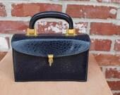 V I N T A G E  Classic Navy Blue Kelly Bag, 50s, Meyers, Box style, brass trim, perfect condition